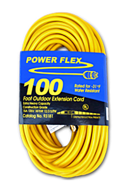 Extension Cord 12/3, 100', Yellow