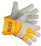 Pair of white/yellow Forcefield Cowhide Foam Lined Gloves