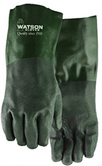 Pair of green Watson Double Dipped PVC Gauntlet Style Gloves