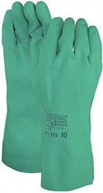 Pair of green Ansell Sol-Vex Gloves