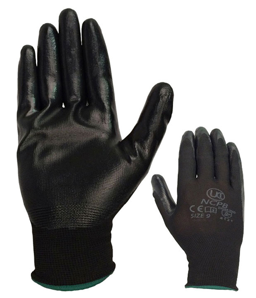 Pair of Black Nitrilon Lightweight Nitrile Coated Gloves