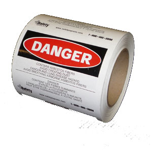 "Asbestos Danger Label 4""x5"""