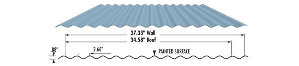 """Westform Metals Corrigated Metal Roofing, 7/8"""", 24 Gauge Galvanized"""