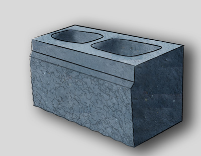 Split Face 2-Side Kobb Concrete Block, 20CM, Charcoal