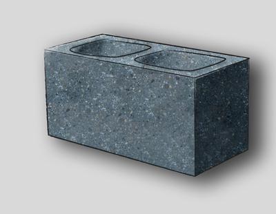 Ground Face 1 Face, 1 End Concrete Block, 10CM, Charcoal