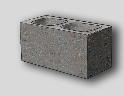 Ground Face 1 Face Concrete Block, 10CM, Grey